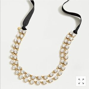 J. Crew Layered Crystal Ribbon Tie Necklace